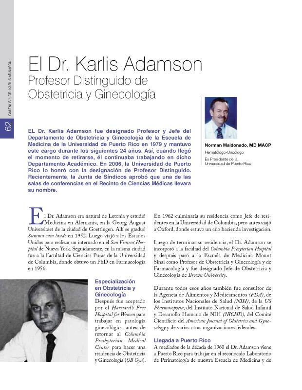 El Dr. Karlis Adamson