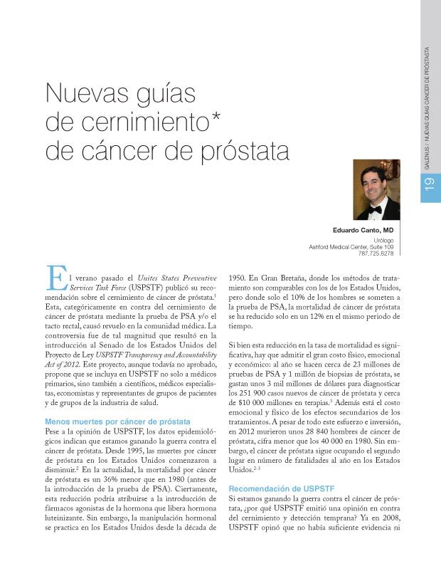 Nuevas guías de cernimiento de cáncer de próstata