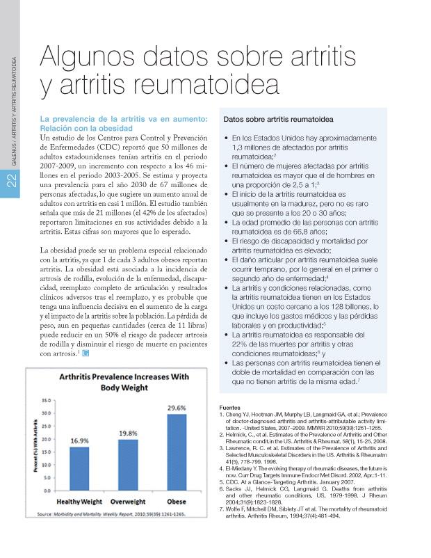 Algunos datos sobre artritis  y artritis reumatoidea