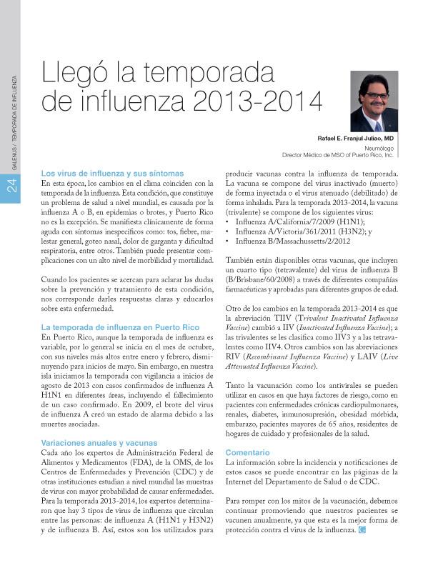Llegó la temporada  de influenza 2013-2014