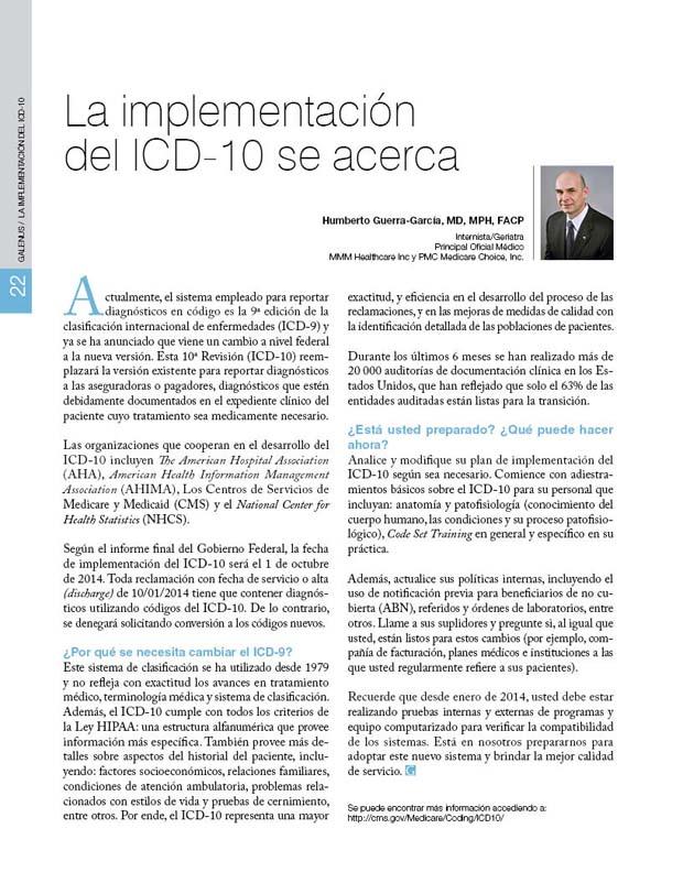 La implementación  del ICD-10 se acerca