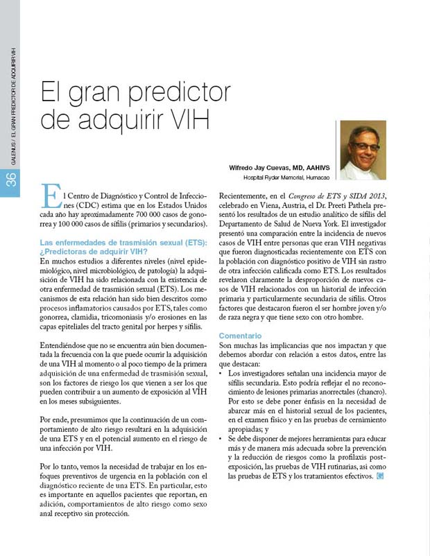 El gran predictor  de adquirir VIH