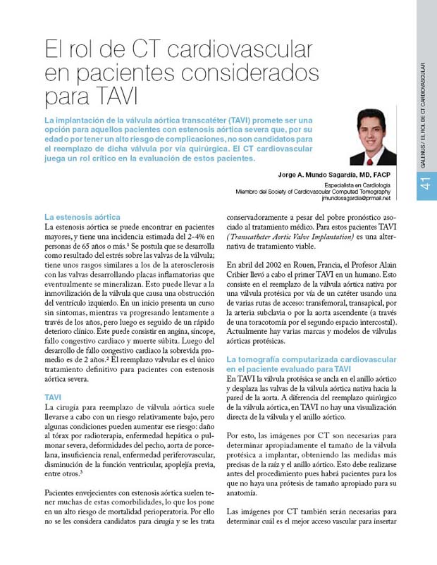 El rol de CT cardiovascular en pacientes considerados para TAVI