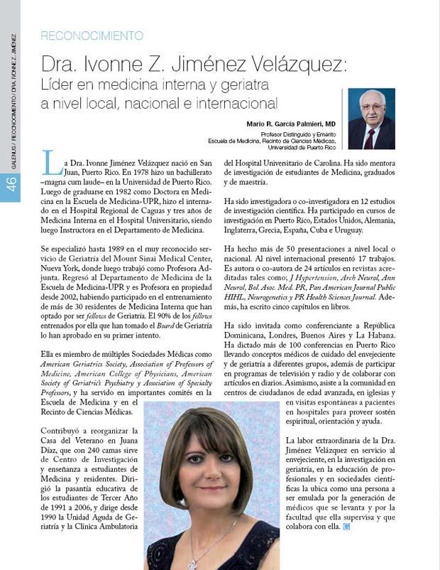 Dra. Ivonne Z. Jiménez Velázquez:  Líder en medicina interna y geriatra  a nivel local, nacional e internacional