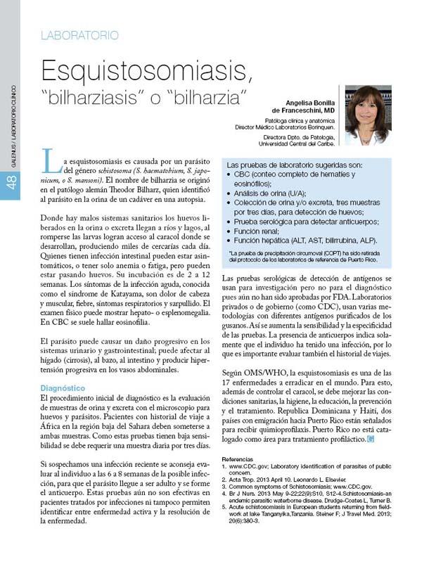 """Esquistosomiasis, """"bilharziasis"""" o """"bilharzia"""""""