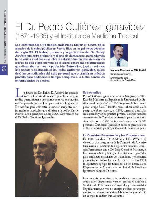 El Dr. Pedro Gutiérrez Igaravídez (1871-1935) y el Instituto de Medicina Tropical