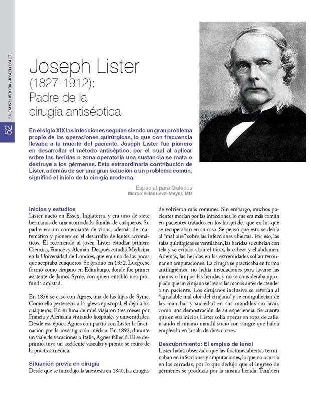 Joseph Lister (1827-1912):  Padre de la  cirugía antiséptica