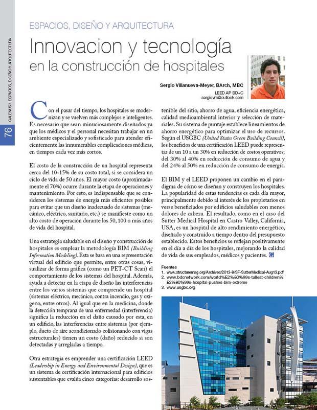 Innovacion y tecnología  en la construcción de hospitales