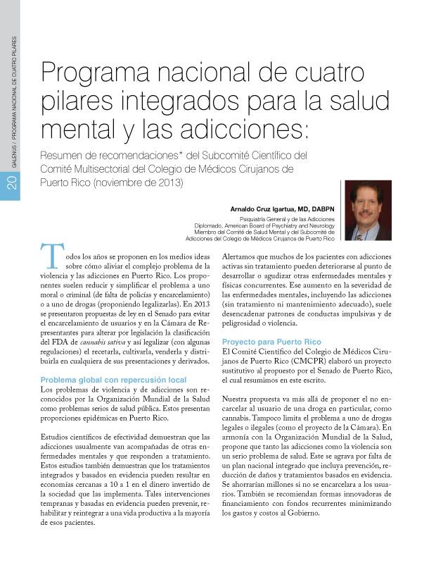 Programa nacional de cuatro pilares integrados para la salud mental y las adicciones