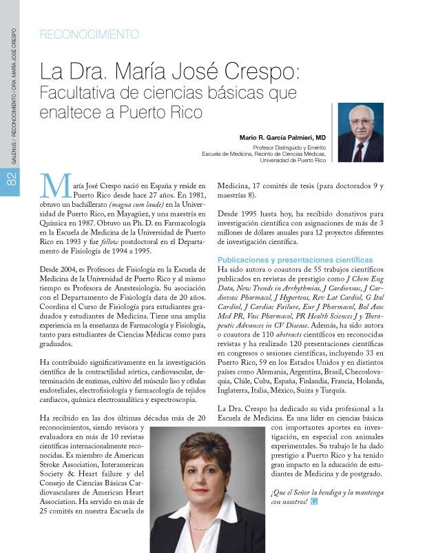 La Dra. María José Crespo: Facultativa de ciencias básicas que enaltece a Puerto Rico
