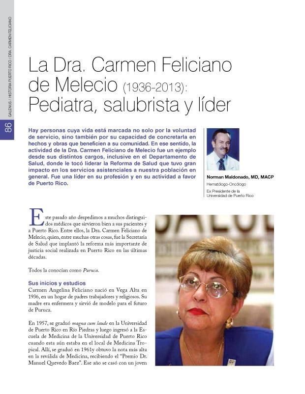 La Dra. Carmen Feliciano de Melecio (1936-2013): Pediatra, salubrista y líder