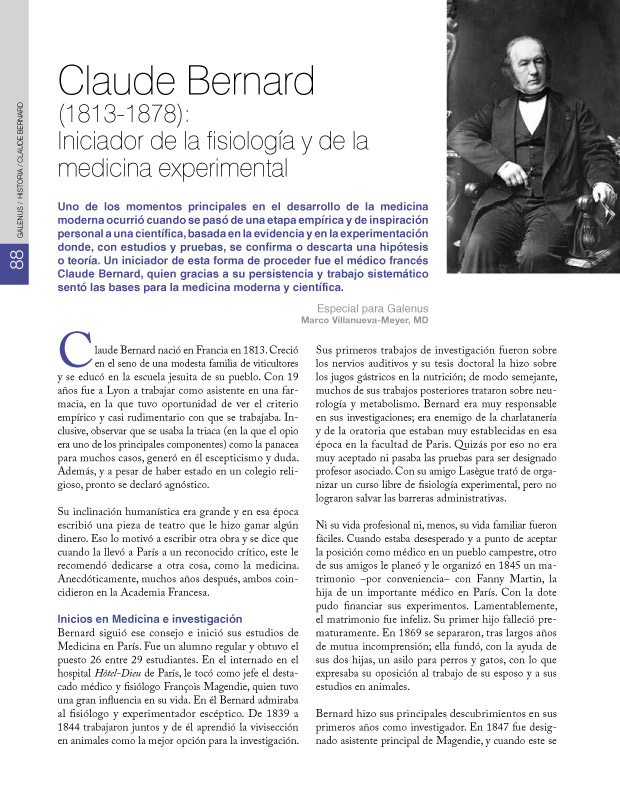 Claude Bernard (1813-1878): Iniciador de la fisiología y de la medicina experimental