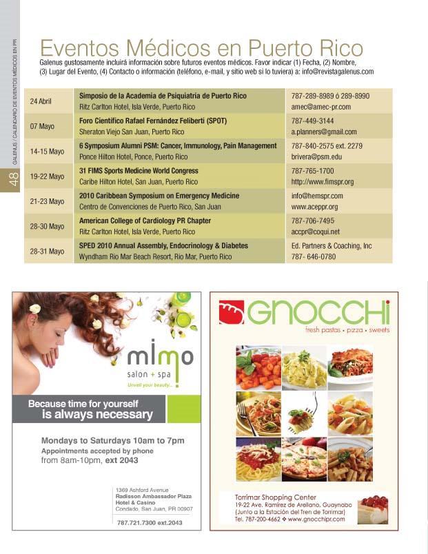 Calendario de EVENTOS MÉDICOS en PR