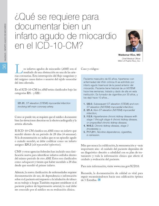 ¿Qué se requiere para documentar bien un infarto agudo de miocardio en el ICD-10-CM?