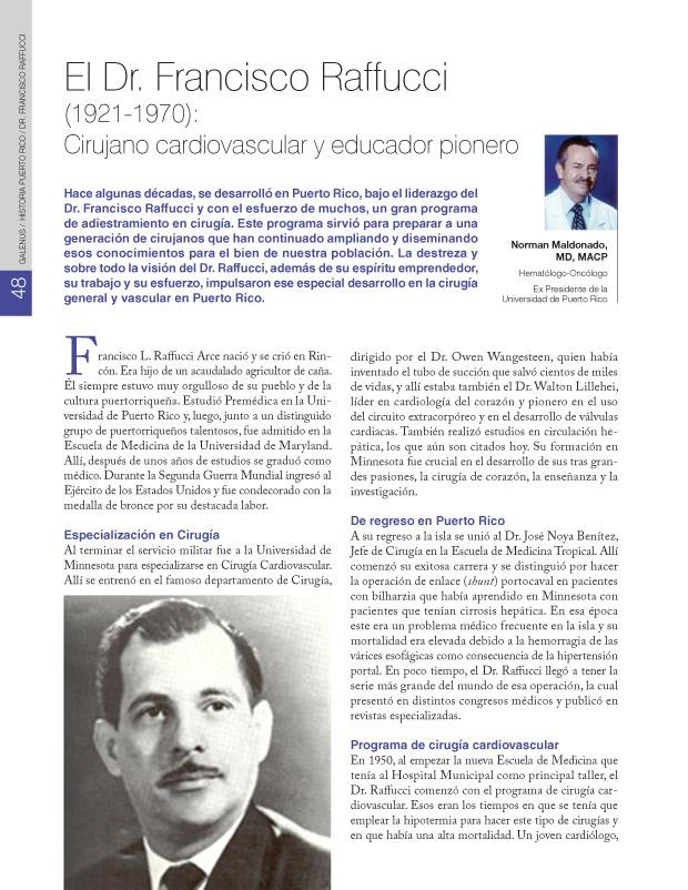 El Dr. Francisco Raffucci (1921-1970): Cirujano cardiovascular y educador pionero