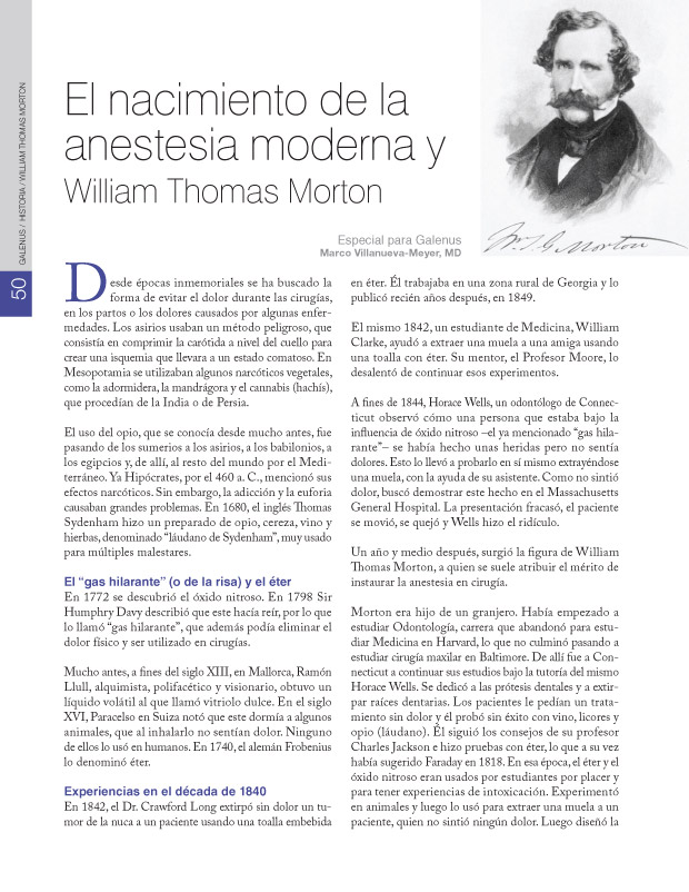El nacimiento de la anestesia moderna y William Thomas Morton
