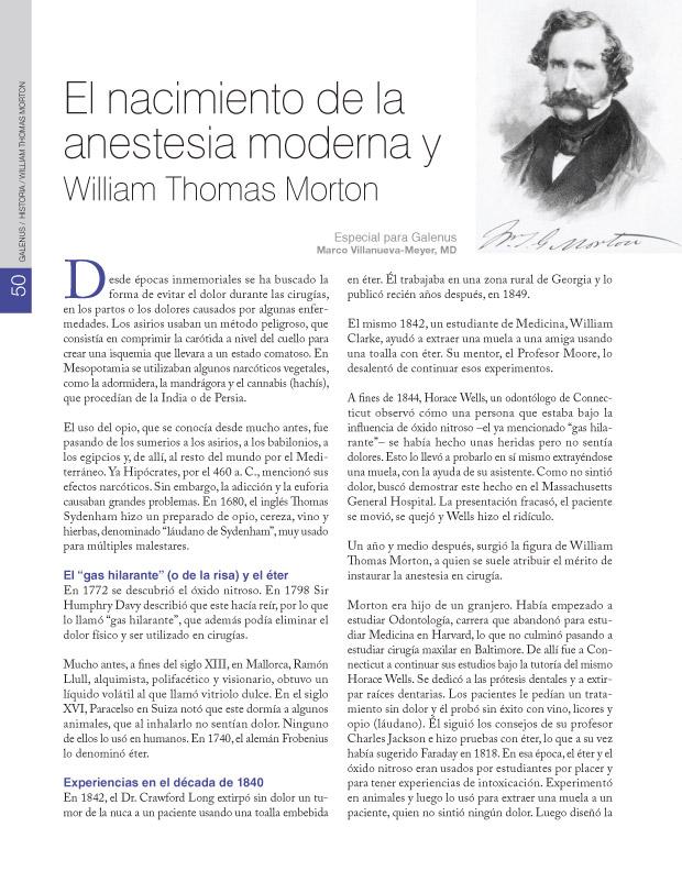 El nacimiento de la anestesia moderna y William Thomas Morton