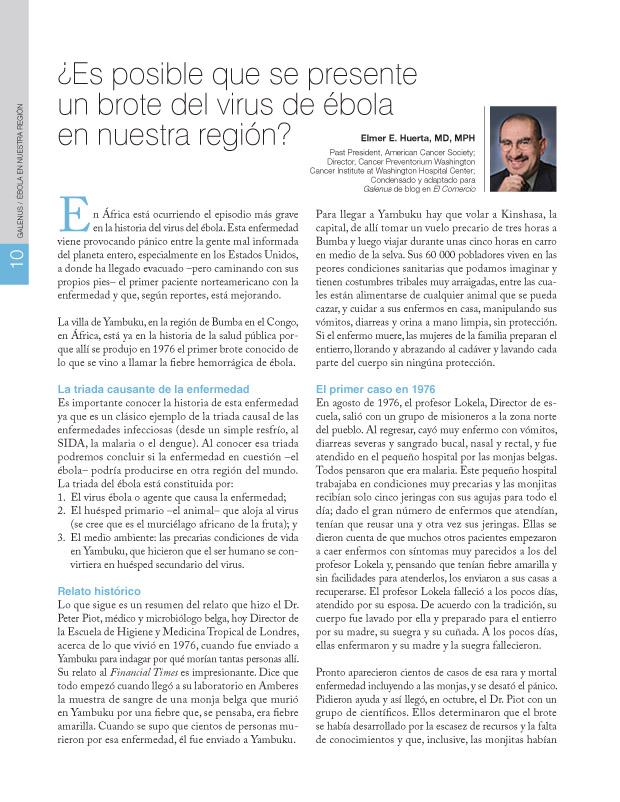 ¿Es posible que se presente un brote del virus de ébola en nuestra región?