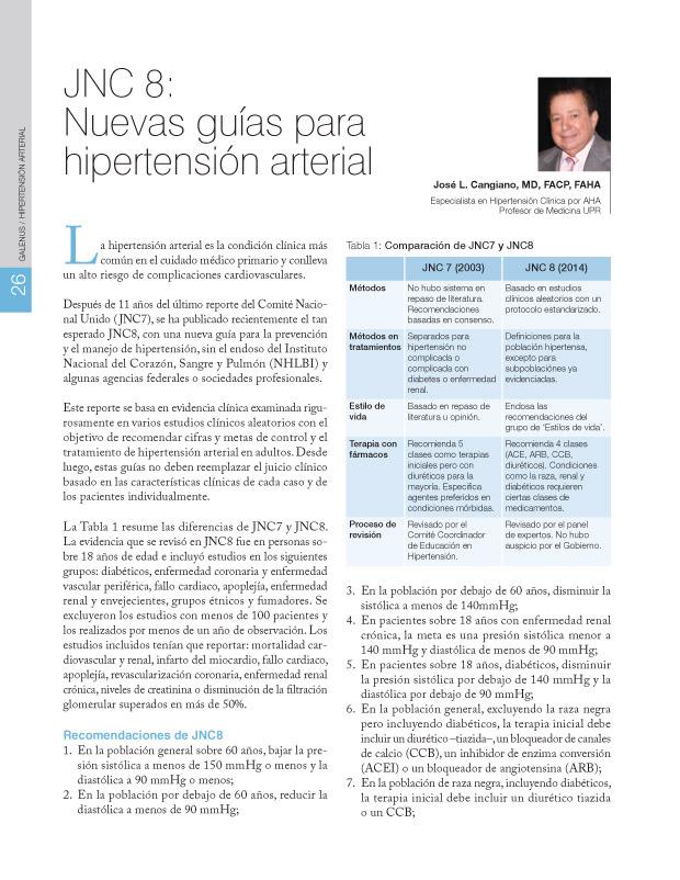 JNC 8: Nuevas guías para hipertensión arterial
