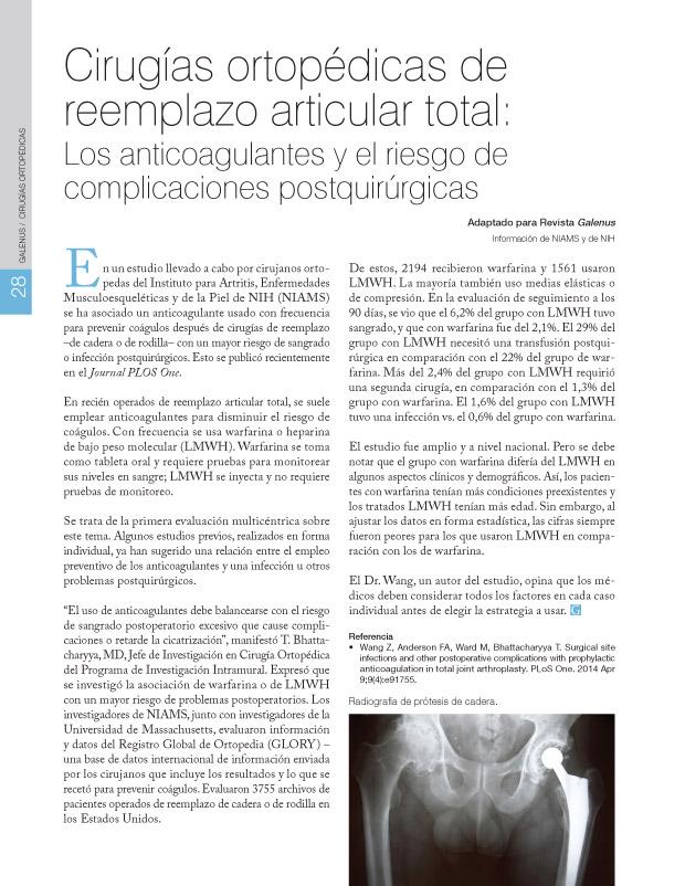 Cirugías ortopédicas de reemplazo articular total: Los anticoagulantes y el riesgo de complicaciones postquirúrgicas