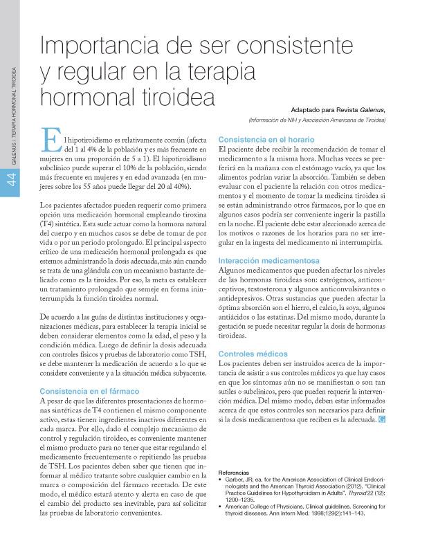 Importancia de ser consistente y regular en la terapia hormonal tiroidea