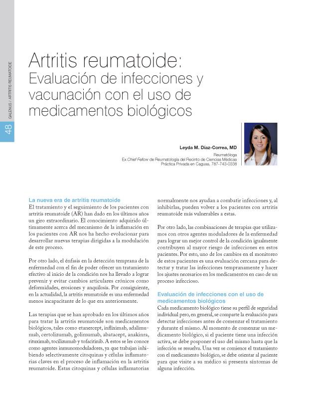 Artritis reumatoide: Evaluación de infecciones y vacunación con el uso de medicamentos biológicos