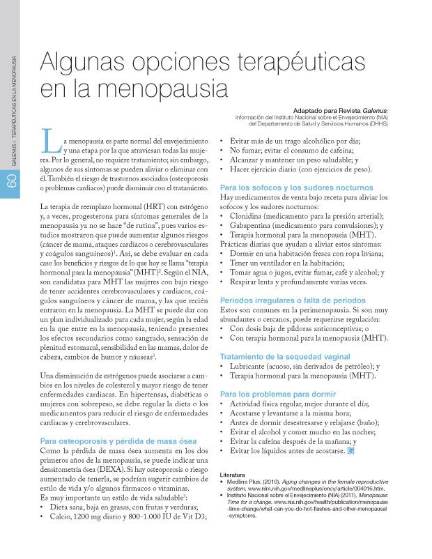 Algunas opciones terapéuticas en la menopausia