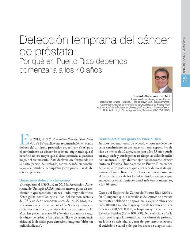 Detección temprana del cáncer de próstata