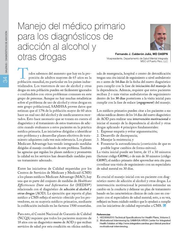 Manejo del médico primario para los diagnósticos de adicción al alcohol y otras drogas