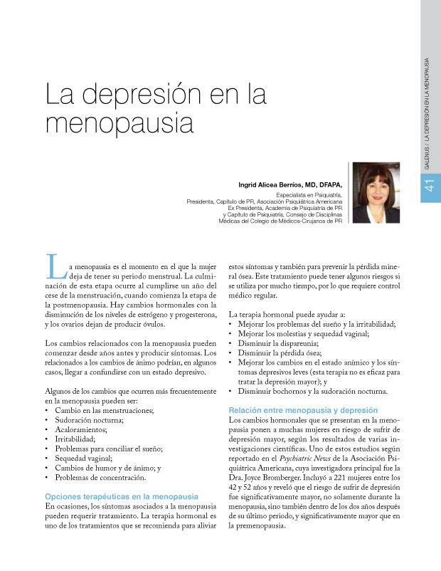 La depresión en la menopausia
