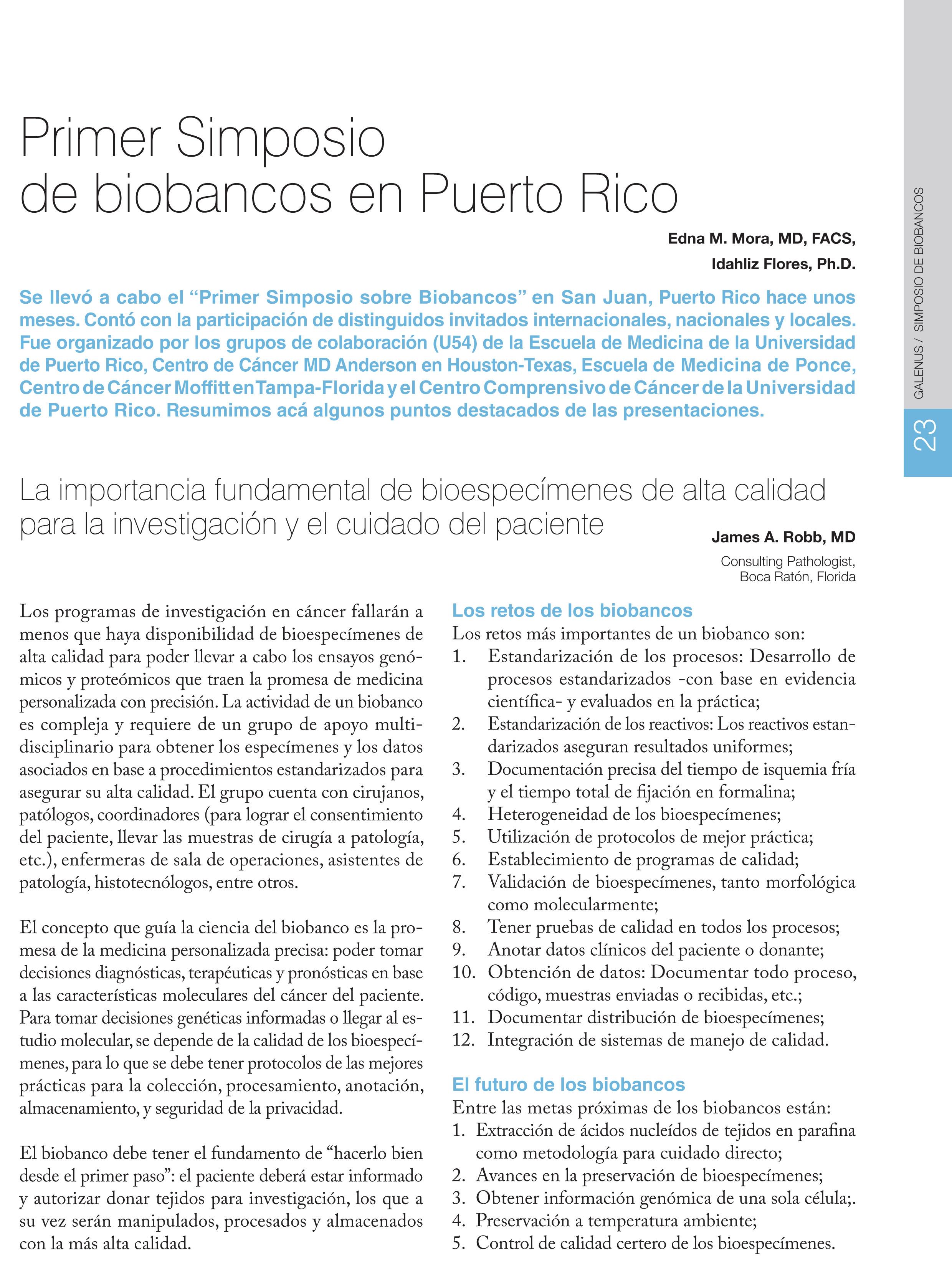 Primer Simposio de biobancos en Puerto Rico