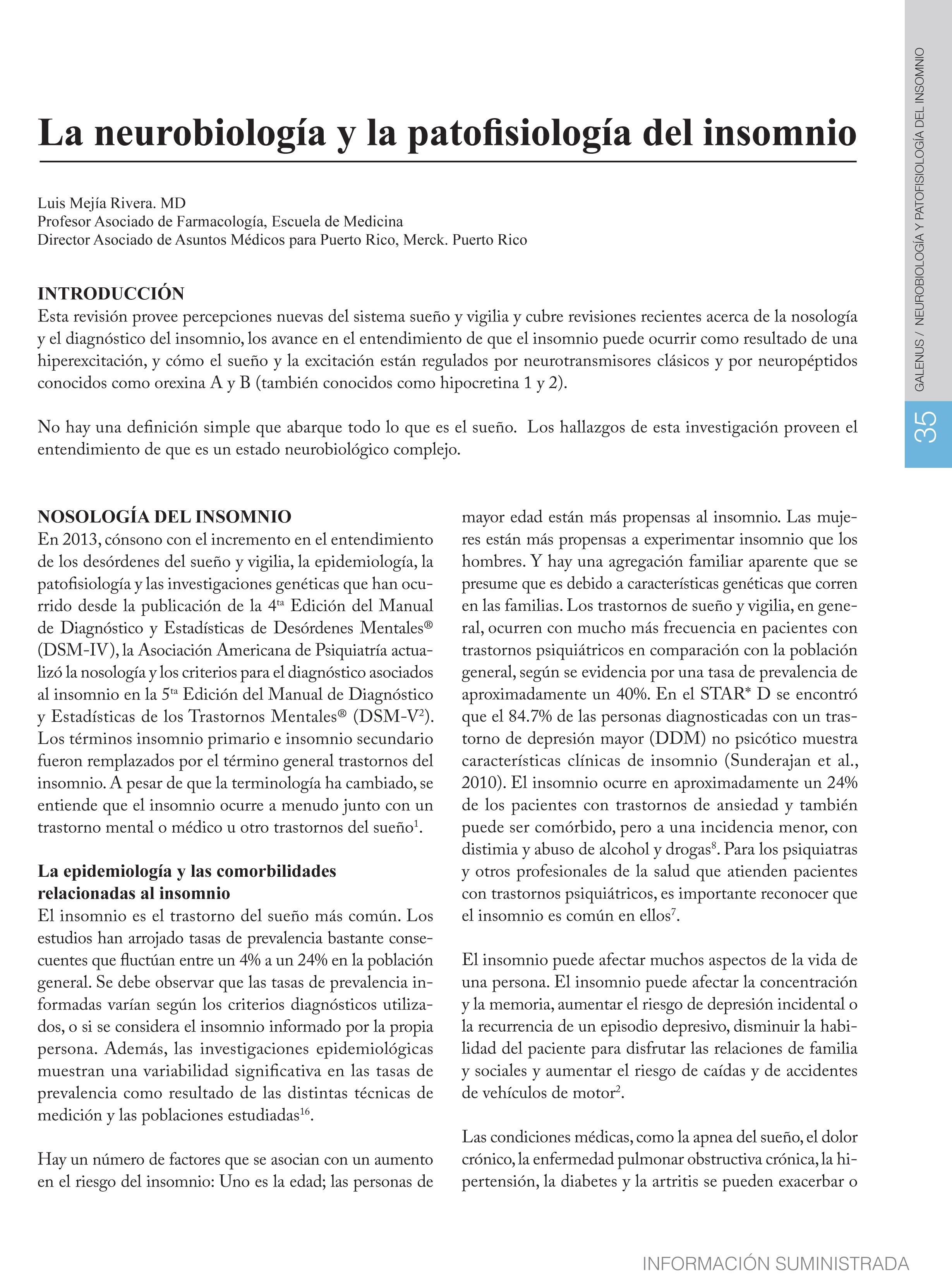 La neurobiología y la patofisiología del insomnio