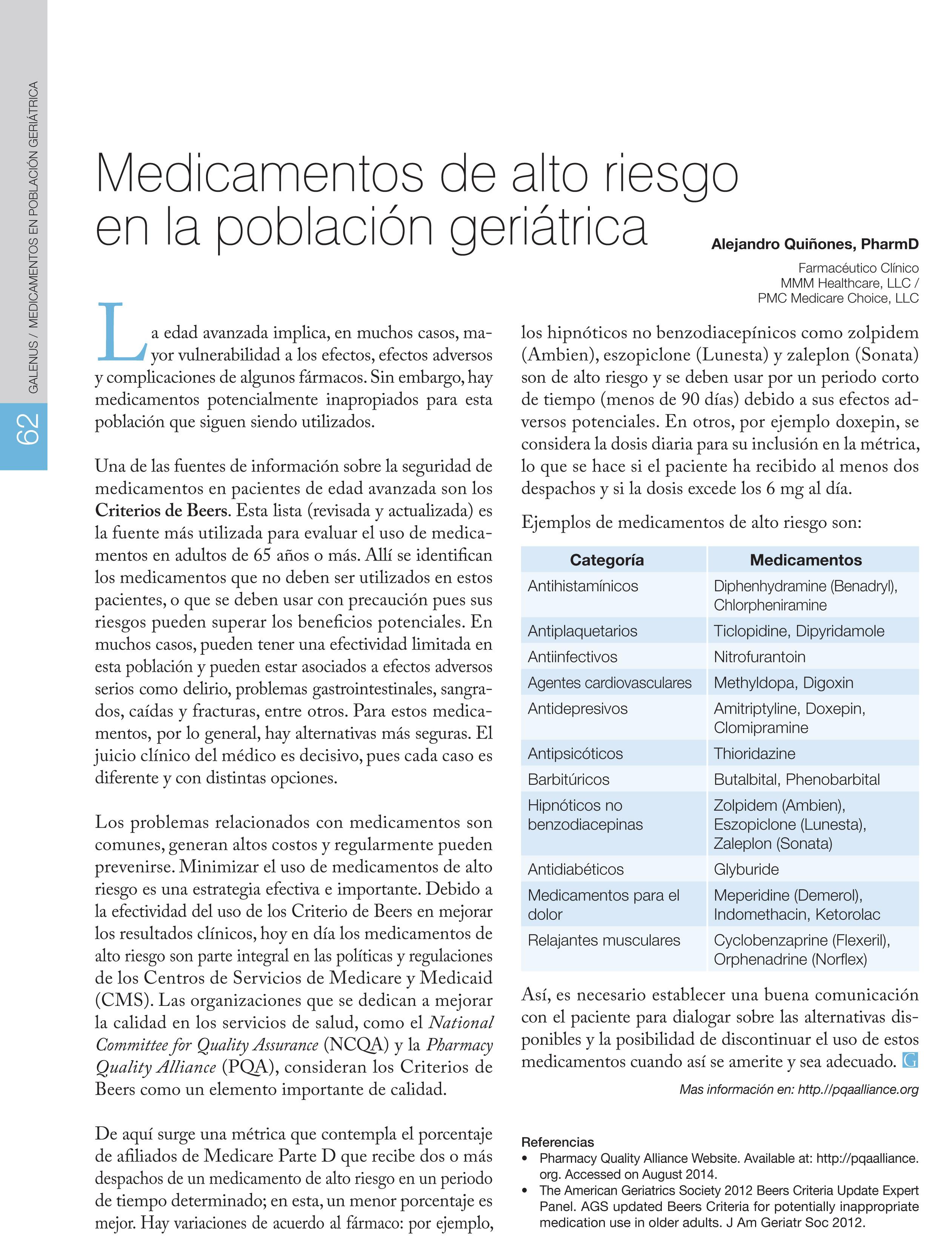 Medicamentos de alto riesgo en la población geriátrica