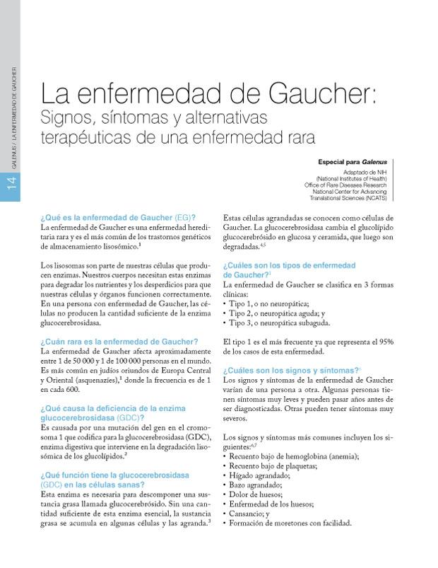 La enfermedad de Gaucher: Signos, síntomas y alternativas terapéuticas de una enfermedad rara
