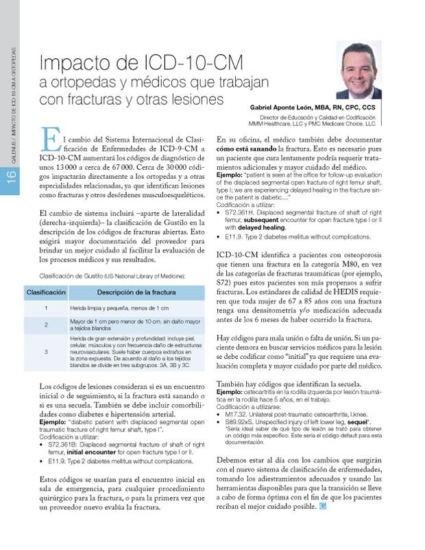 Impacto de ICD-10-CM a ortopedas y médicos que trabajan con fracturas y otras lesiones