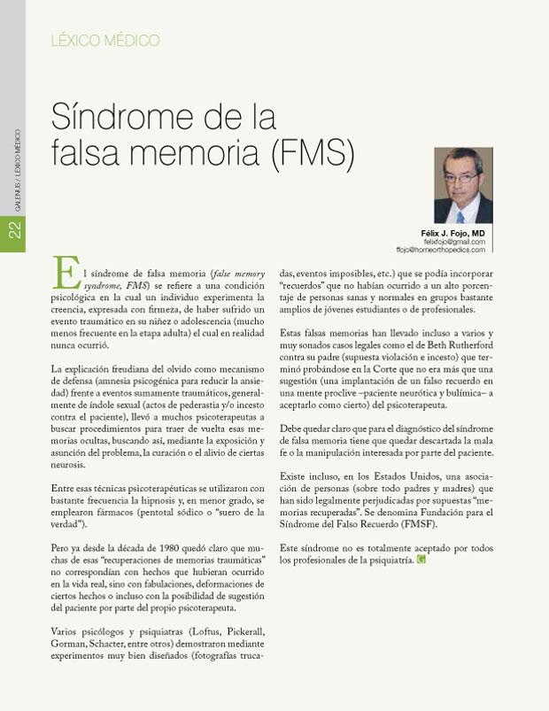 Síndrome de la falsa memoria (FMS)