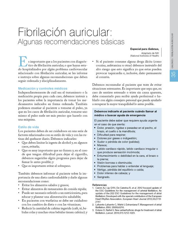 Fibrilación auricular: Algunas recomendaciones básicas