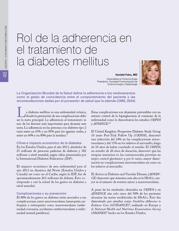 Rol de la adherencia en el tratamiento de la diabetes mellitus