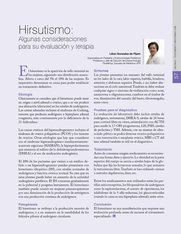 Hirsutismo: Algunas consideraciones para su evaluación y terapia