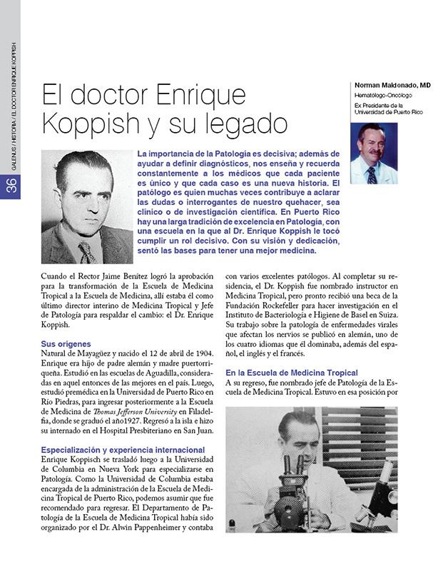 HISTORIA / El doctor Enrique  Koppish y su legado