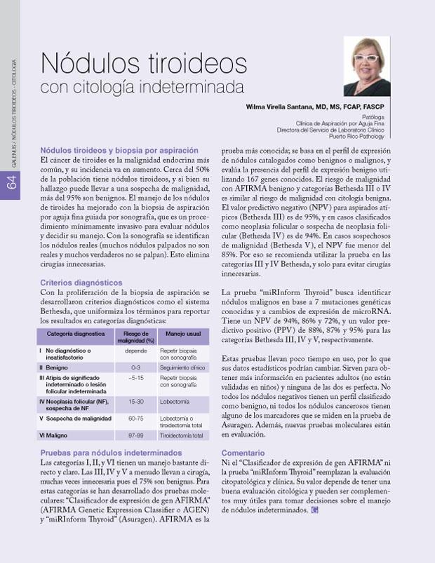 Nódulos tiroideos con citología indeterminada