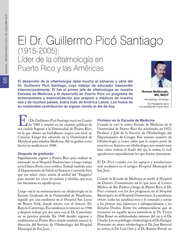 El Dr. Guillermo Picó Santiago (1915-2005): Líder de la oftalmología en Puerto Rico y las Américas