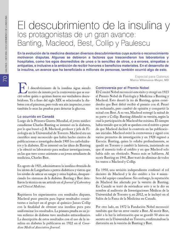 El descubrimiento de la insulina y los protagonistas de un gran avance: Banting, Macleod, Best, Collip y Paulescu