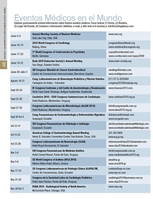 Calendario de Eventos Médicos