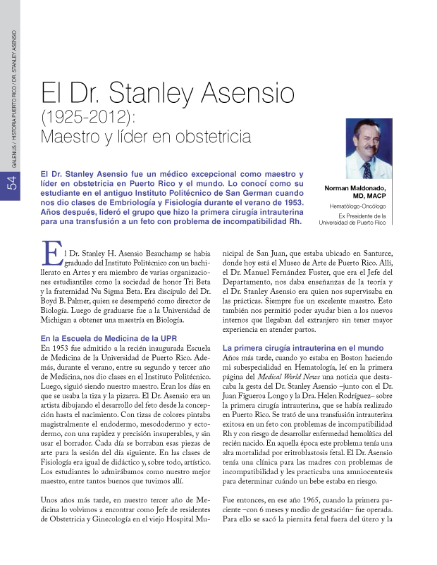 HISTORIA PUERTO RICO / DR. STANLEY ASENSIO