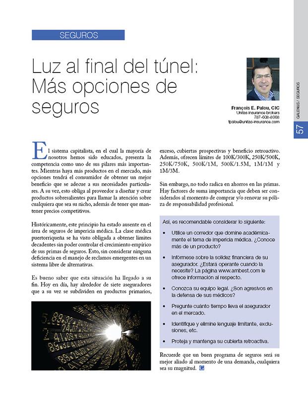 SEGUROS: Luz al final del túnel