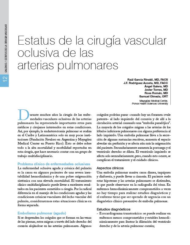 Estatus de la cirugía vascular oclusiva de las arterias pulmonares