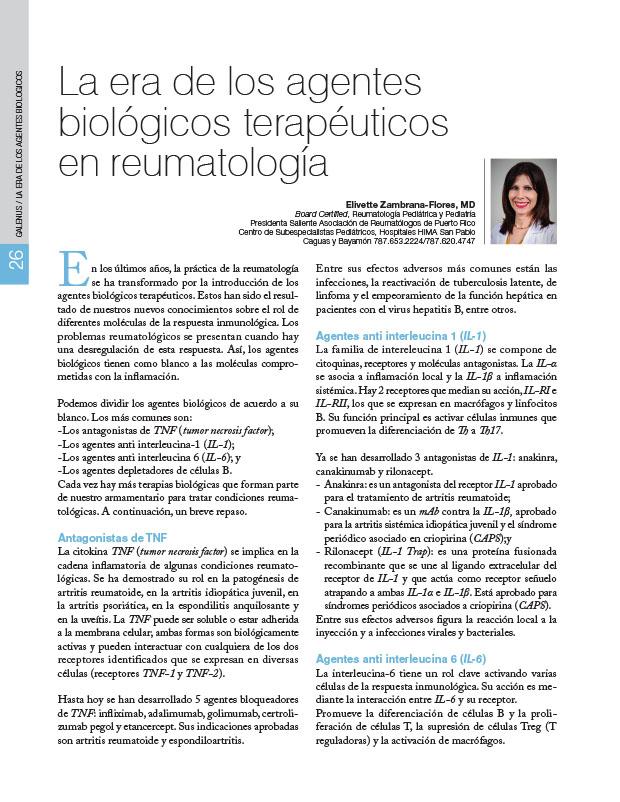 La era de los agentes biológicos terapéuticos en reumatología