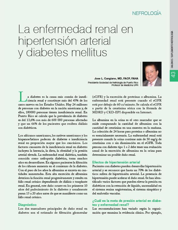 La enfermedad renal en hipertensión arterial y diabetes mellitus