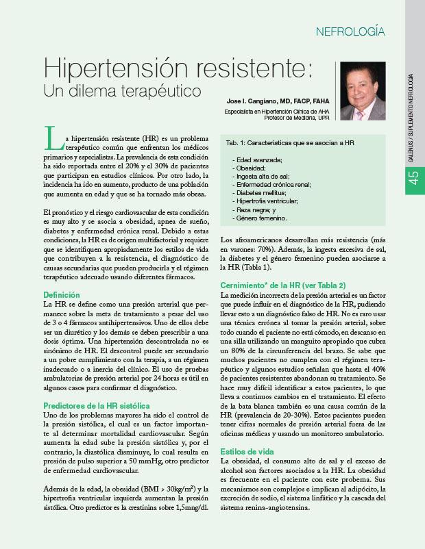 Hipertensión resistente: Un dilema terapéutico